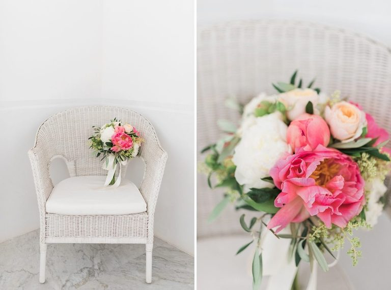 peonie and rose wedding bouquet on chair