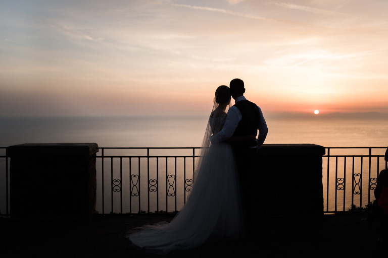 sunset bride and groom wedding photography